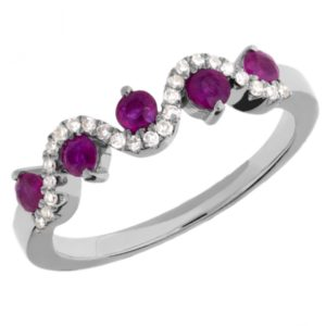9ct White Gold Ruby and Diamond Wave Half Eternity Ring