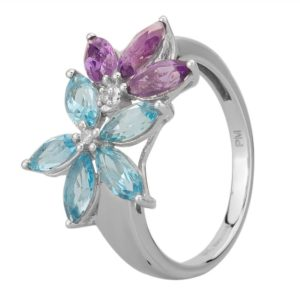 9ct White Gold Blue Topaz and Amethyst Flower Ring