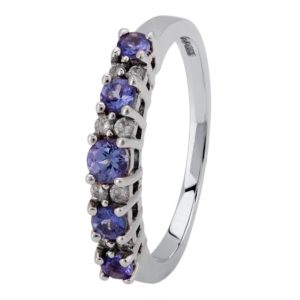 9ct White Gold Tanzanite and Diamond Half Eternity Ring