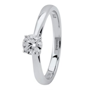 18ct White Gold Four Claw Basket Set Diamond Solitaire Ring