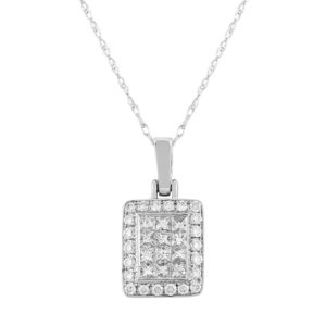 18ct White Gold Princess Cut Brilliant Diamond Pendant