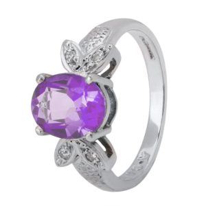9ct White Gold Oval Cut Amethyst and Diamond Butterfly Cluster Ring