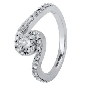 18ct White Gold Diamond Wave Twist Cluster Ring