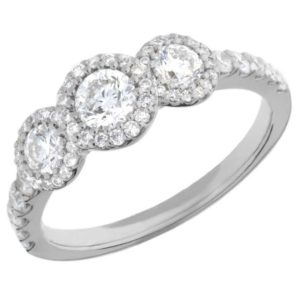 Arctic Circle Diamonds 18ct White Gold Round Brilliant Trilogy Cluster Ring