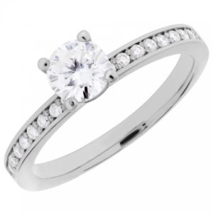 Arctic Circle Diamonds 18ct White Gold Solitaire Diamond Shouldered Ring