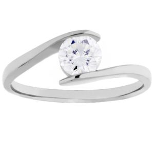 Arctic Circle Diamonds 18ct White Gold Tension Set Solitaire Twist Ring