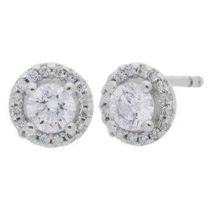 Arctic Circle Diamonds 18ct White Gold Diamond Halo Stud Earrings