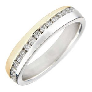 9ct Two Tone Gold 4mm Channel-set Diamond Wedding Ring