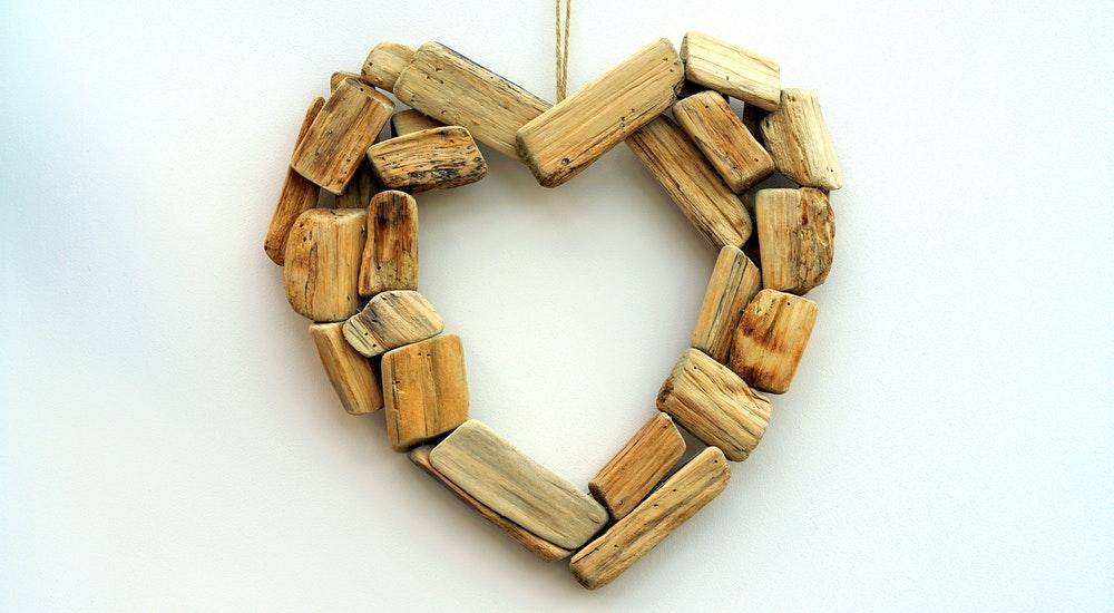 Driftwood heart ornament.